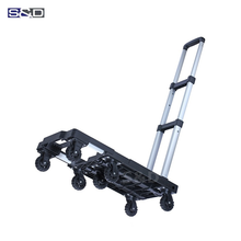 Compact aluminum heavy duty platform lightweight portable flatbed 7 wheel dolly folding shopping luggage hand trolley cart truck