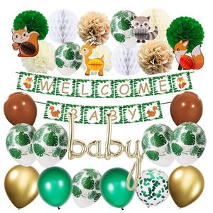 Woodland Dier Baby Shower Decoraties Geslacht Neutrale Feestartikelen Kit Bos Safari Thema Welkom Baby Decoraties