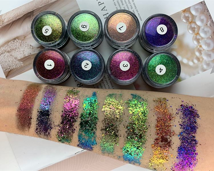 chameleon cosmetics makeup pigment loose powder eyeshadow custom your own brand neon loose eyeshadow powder