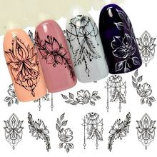 1 Sheet Jewelry Flower Water Decal Black Sticker For Nail Pattern Painting Wrap Paper Foil Tip Tattoo Manicure