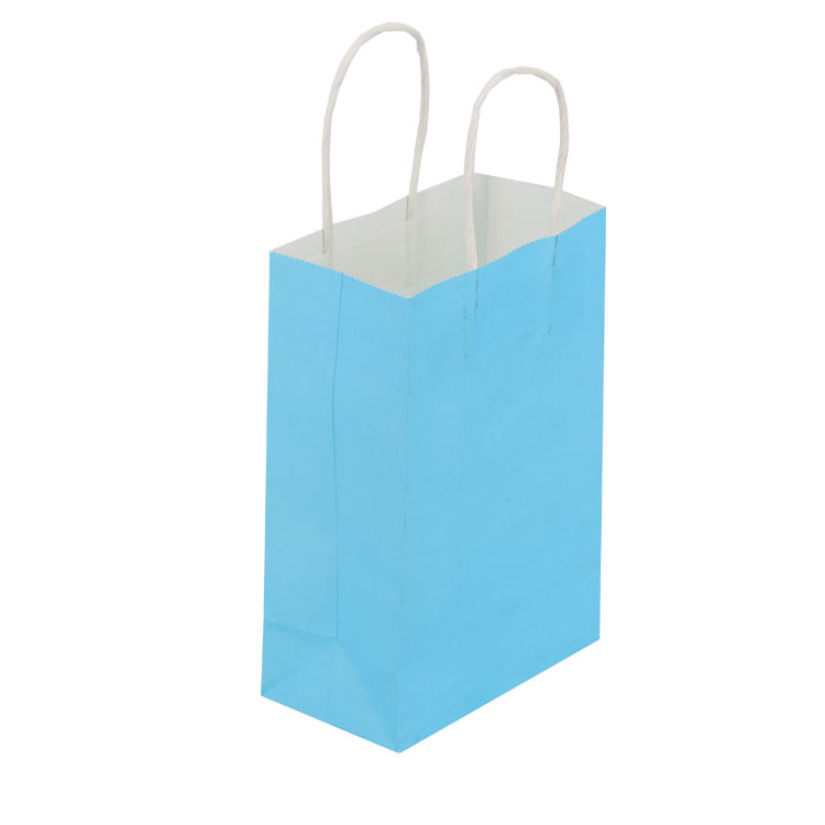 Natural eco friendly recycled custom printed kraft color brown black pink white blue ribbon gift paper bags