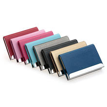 Luxury PU Leather & Stainless Steel Multi Card Case,Business Card Holder Wallet Credit Card ID Case for Men Women