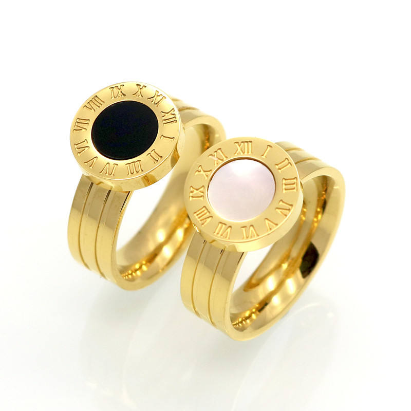 Famous Brand Women Rings 18K Gold/Rose Gold Stainless Steel Ring Roman Numeral Shells Luxury Jewelry Female Rings Wholesale