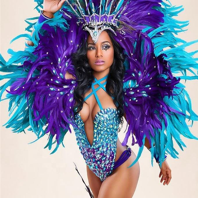Brazilian festival sexy party stage wild dance carnival butterfly feather wings with headpiece cabaret samba bikini Rio costumes