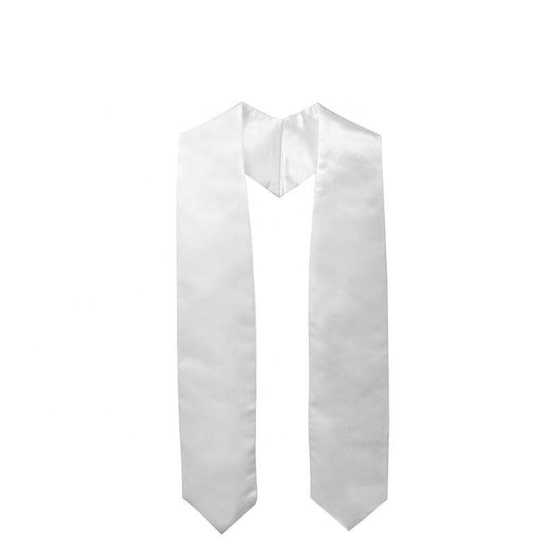 2021 customize wholesale Hot Sell High Quality White Plain Graduation Stole sash