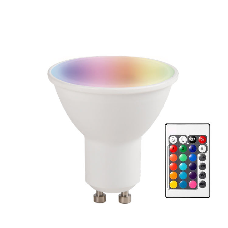 24 Keys Infrared Remote Control 4.5W 250 Luminous Flux Color Changing Spot Light Bulb LED Spotlight GU10 RGB With CE SAA ERP