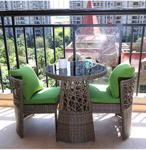 Outdoor Furniture Space-saving PE Rattan Garden Chairs Balcony Table Modern Relaxing Patio Dining Sets