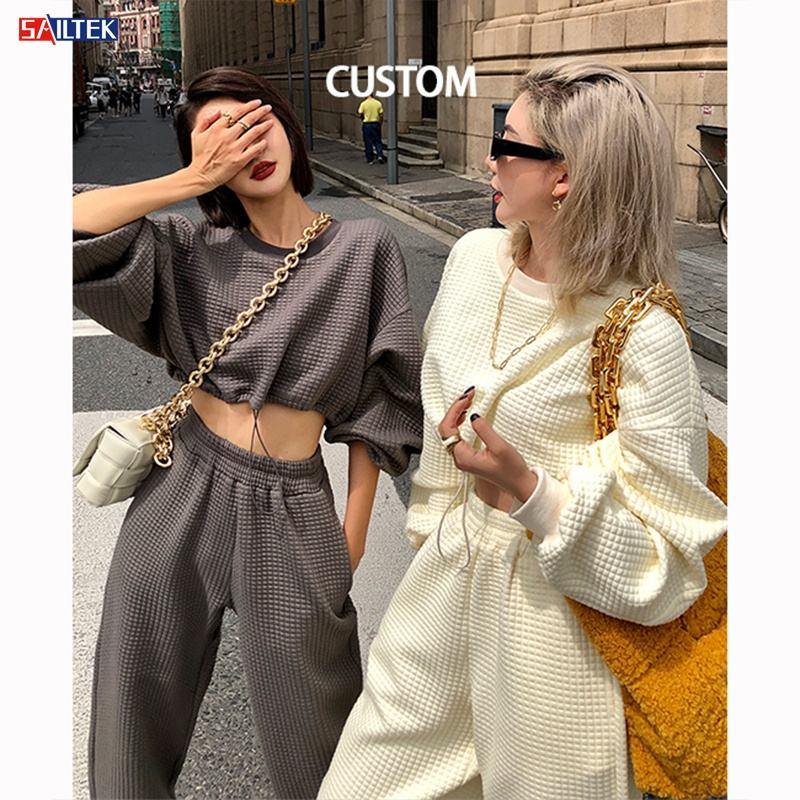 2021 high quality crop top space cotton fabric women sweatshirt sets custom available hoodie sets women