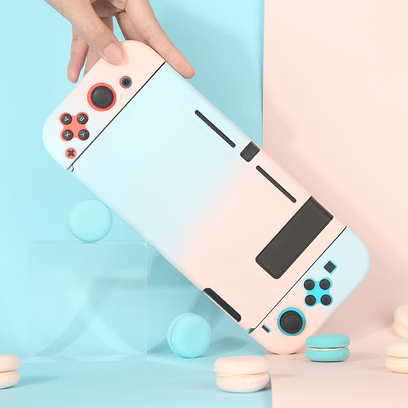 INS Hot New Arrivals Cute Macaron Blue Pink Gradient Nintendo Switch Lite Shell Storage Case