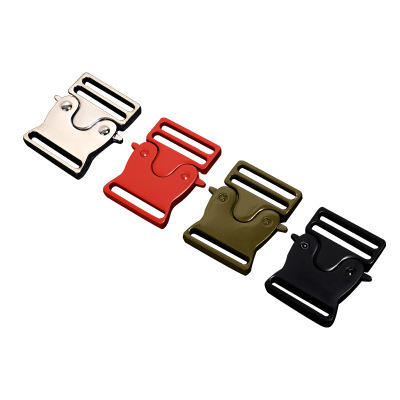 Custom red black silver zinc alloy safe buckle metal quick release tactic belt buckle