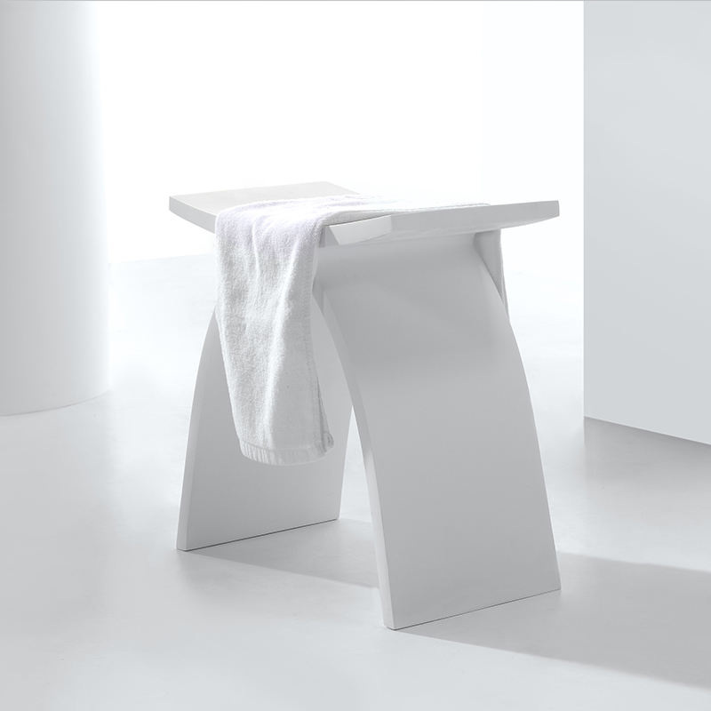 Solid Surface Bathroom stool Pure white Shower Stool