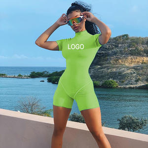 Personalized Logo Women's One Piece Short Set Ladies Outfits Fitness Romper Solid Stretch Yoga Bodysuits Workout sets for Women