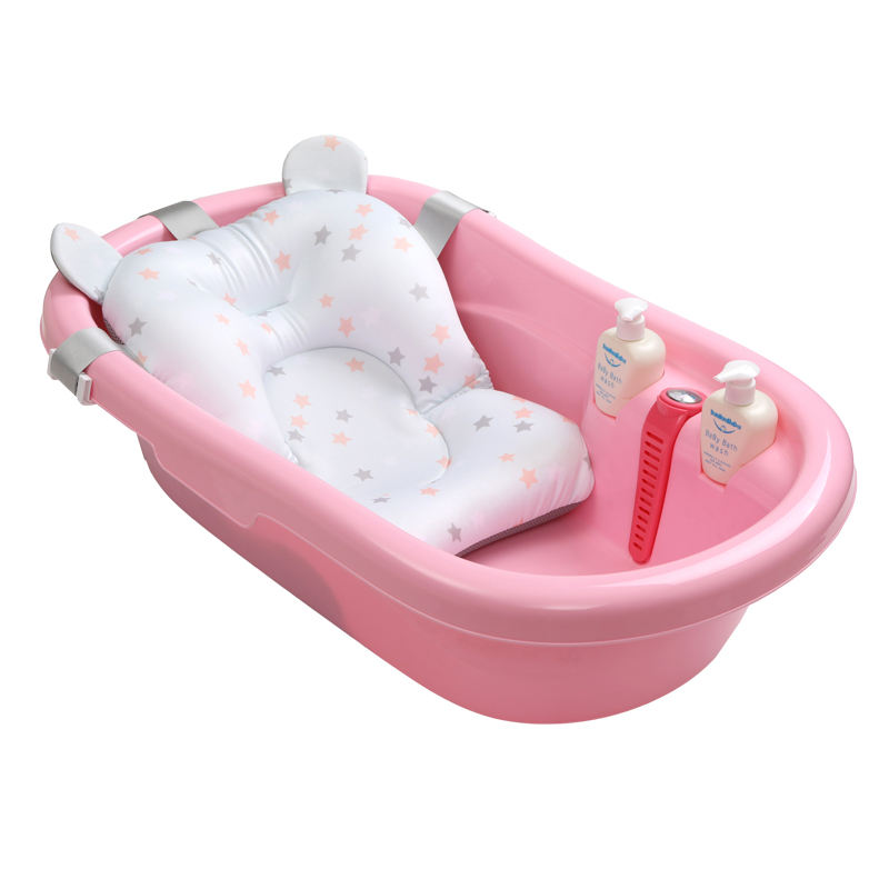Baby bathtub with heat meter, plastic baby basin children washbowl with bed bath