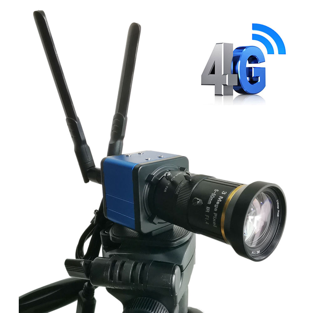 3G 4G box camera live streaming SIM IP Camera SD Card 4G SIM Card CCTV security Move tripod to secure With I-CS Lens