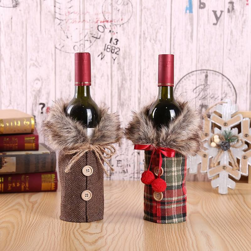 Christmas Decorations Clothes Button Wine Bottle Bag Buffalo Plaid Draw Pocket Hotel Tableware