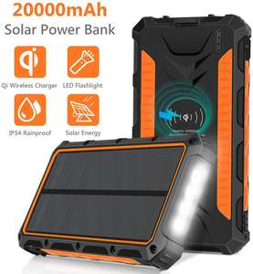 20000M Ah Portable Surya Charger Qi Wireless Pengisian Solar Power Bank untuk Mobile Cell Phone
