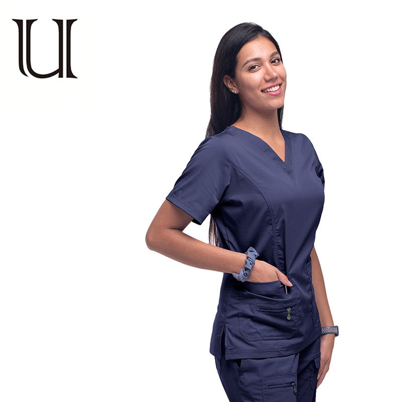 Spandex Polyester Material and Hospital Uniform Product Type Women Scrubs Comfortable
