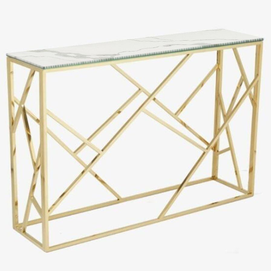 Matel Iron Golden Coffee Tables and Console Tables Power Coated Framed With White Marble Stone Tops