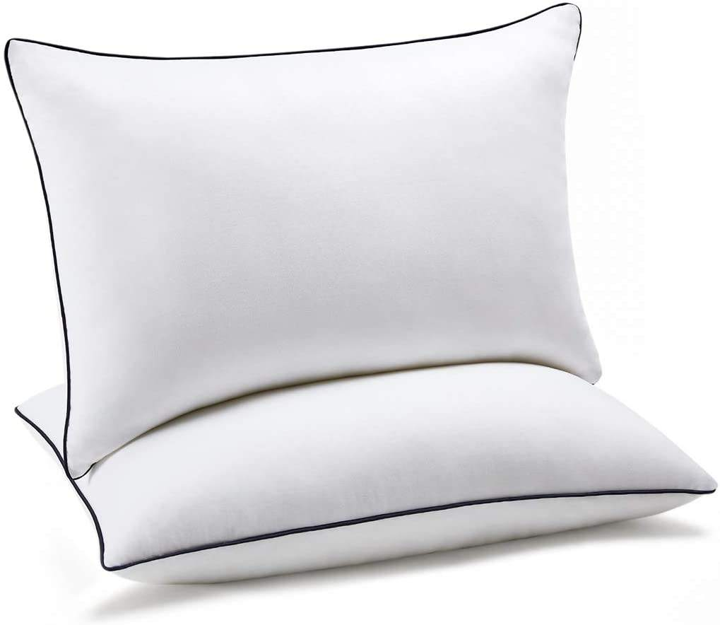 White Cotton Premium Hotel Collection 2 Pack Adjustable Loft Queen Size Microfiber Feels like Down Neck Pillow