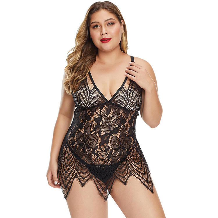 Plus Size All Over Lace Chemise with Thong Lingerie