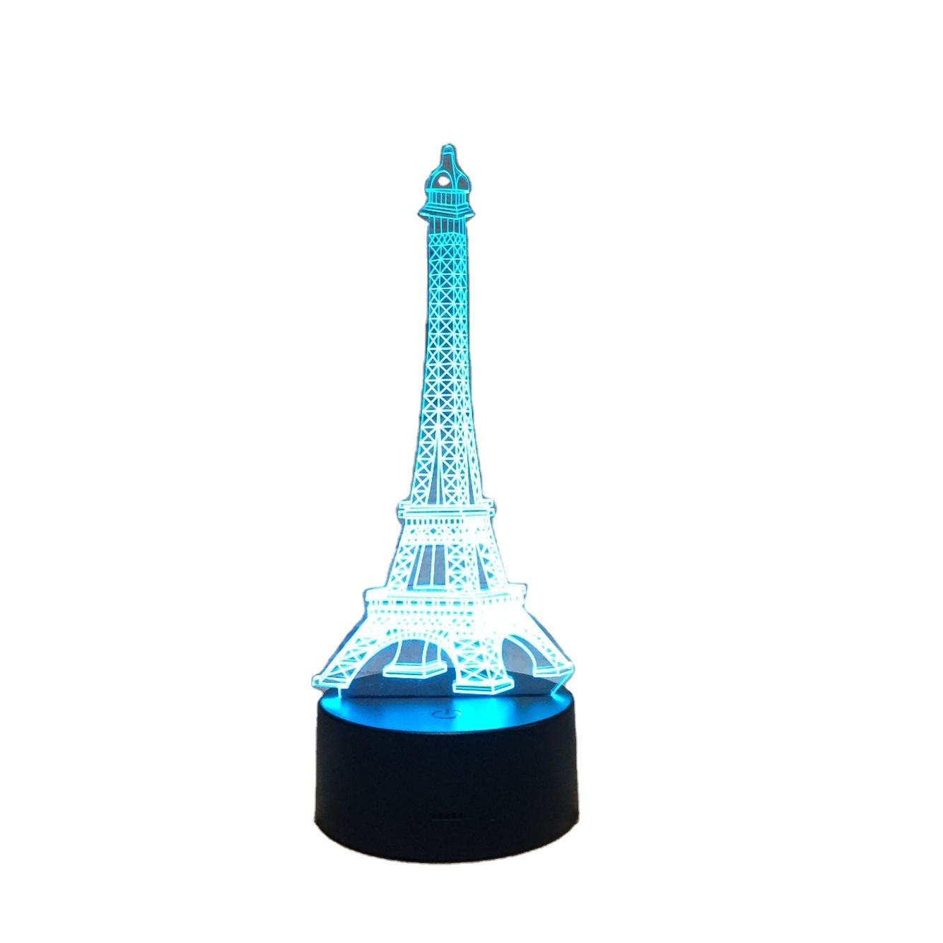 Kids room decor optical novelty illusion Eiffel tower night light 3d led