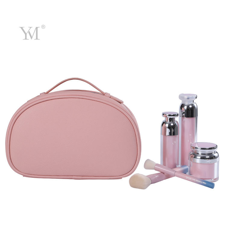 Leather hanging toiletry bag beauty travel cosmetic bag lady pink promotional make up bag for girls