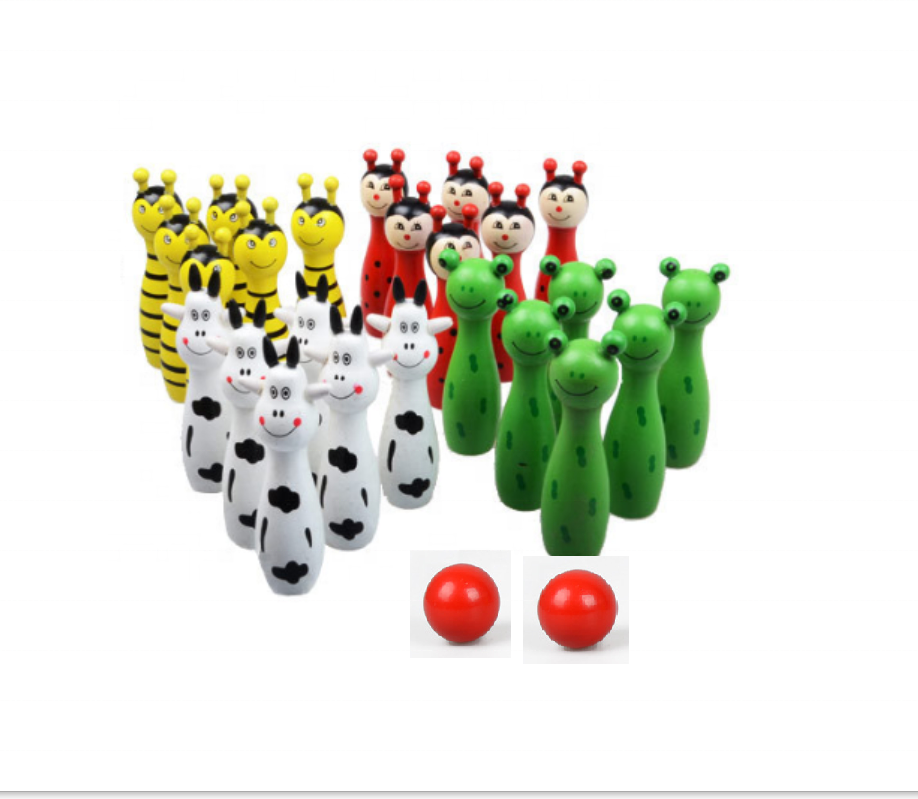 Wooden cartoon animals wooden mini bowling ball sets toy for kids