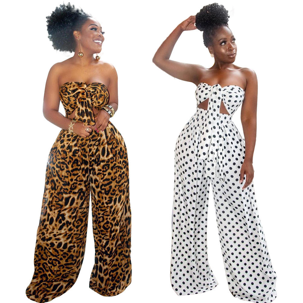 2021 New Arrivals Dot Print Sexy Crop Top and Wide Leg Pants Women clothing Plus Size Two Piece Set ropa casual de mujer