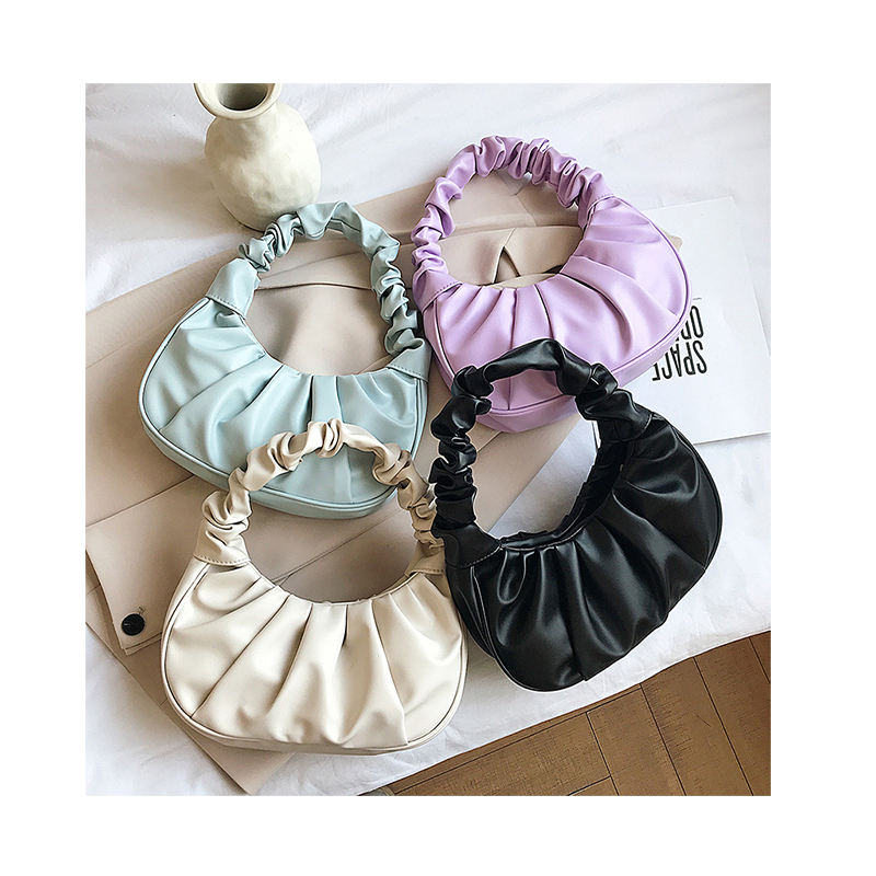 Retro Women Pleated Cloud Bag 2020 Designer PU Leather Wrinkled Handle Armpit Bag Solid Tote Ruched Wild Female Purse Handbags