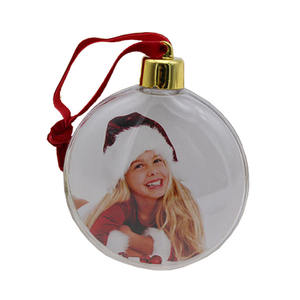 New year filled sublimation plastic personalized family christmas ornaments pack ball with custom photo