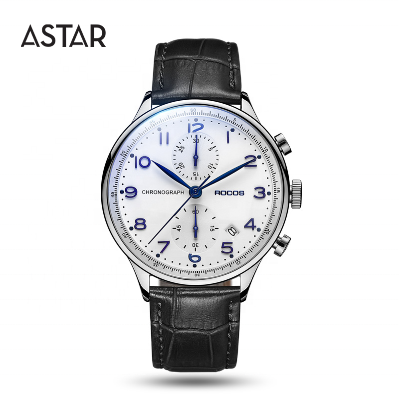 High quality luxury dropshipping 316l stainless steel Japan Chronograph two dial leather wristwatches wrist watch for man