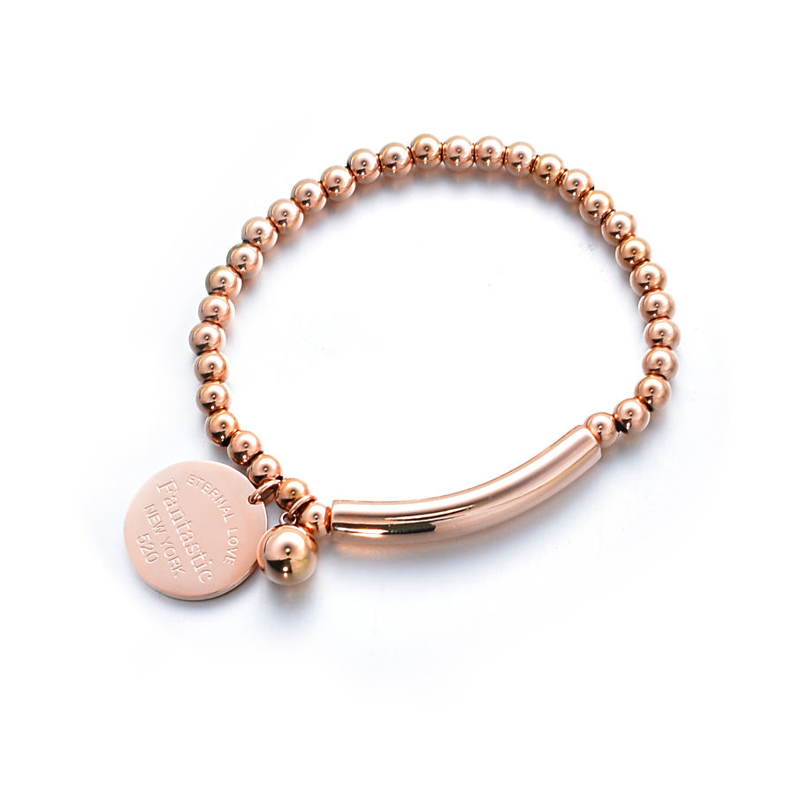 """Fantastic Eternal Love New York"" Stainless Steel Ball Beads Bracelet For Women Circle Charm Stretch Strand Bracelet"