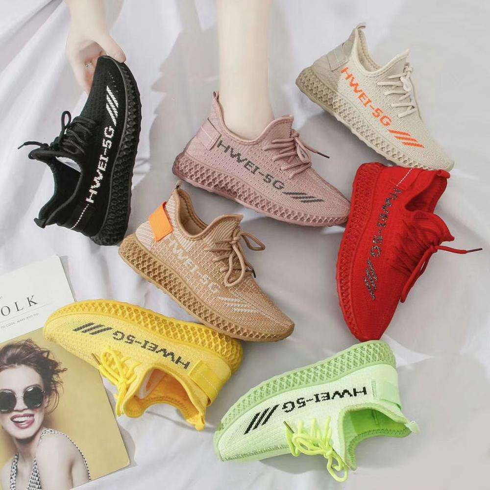 W7297 High Quality Flying Woven Socks Shoes Women Running Sports Casual Students Sneakers Colorful girl shoes sport women