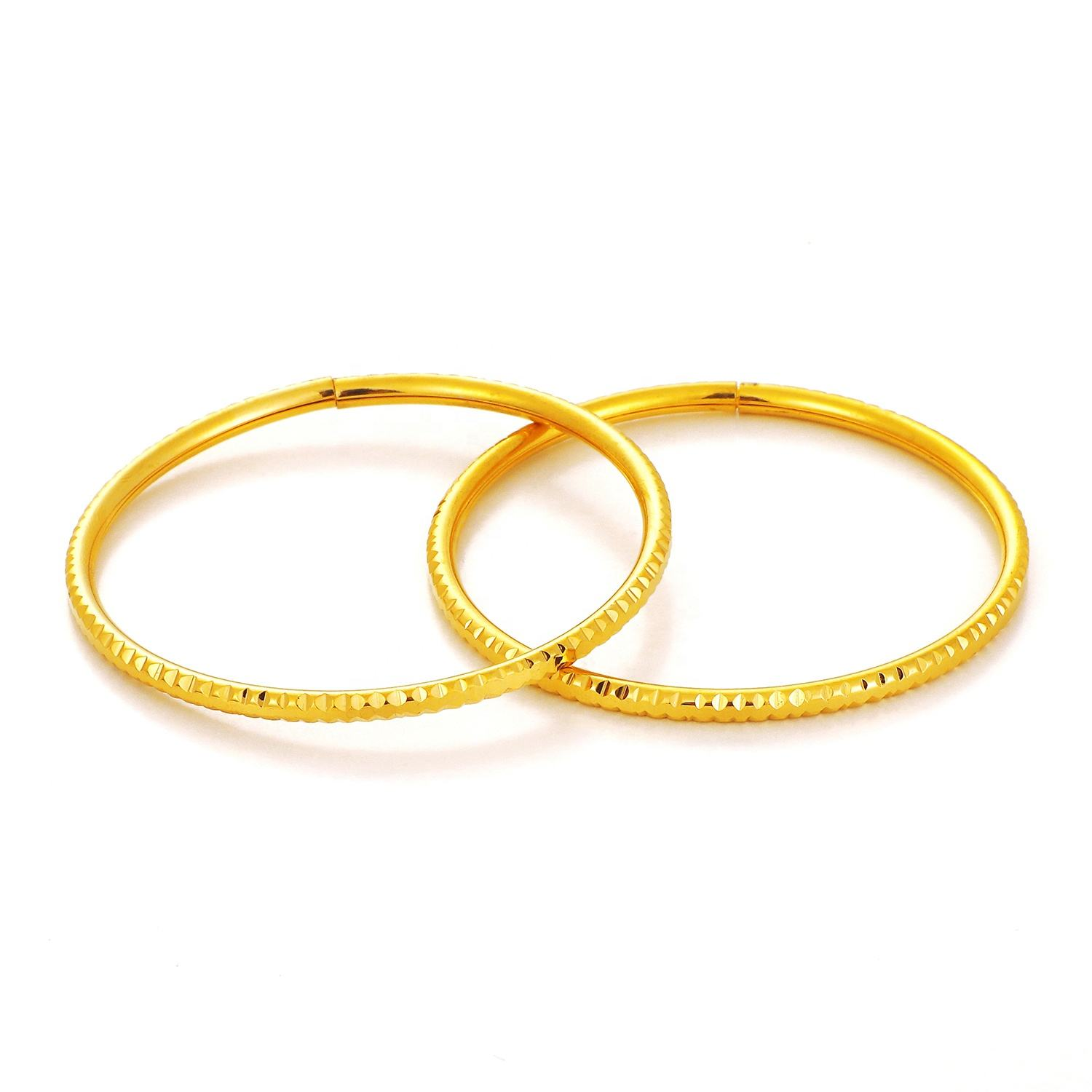 Ethlyn 2Pcs/Lot Small Bangle for Girls/Baby Gold Color Charm India Anklet Bracelet Jewelry Child Party Gifts MY105