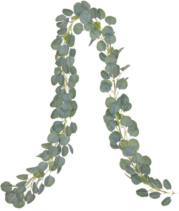 RESUP 2メートルGarland Eucalyptus Rose Flower Artificial Round Leaves Vine Wreath Faux Willow For Wedding Party Home Decoration
