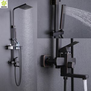 Guang Dong High Quality 304 Stainless Steel one handle Rainfall Square Bath Shower column Mixer Faucet