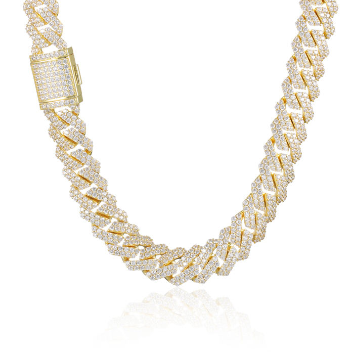 Miss Jewelry high quality 15mm CZ diamond iced out chain prong cuban