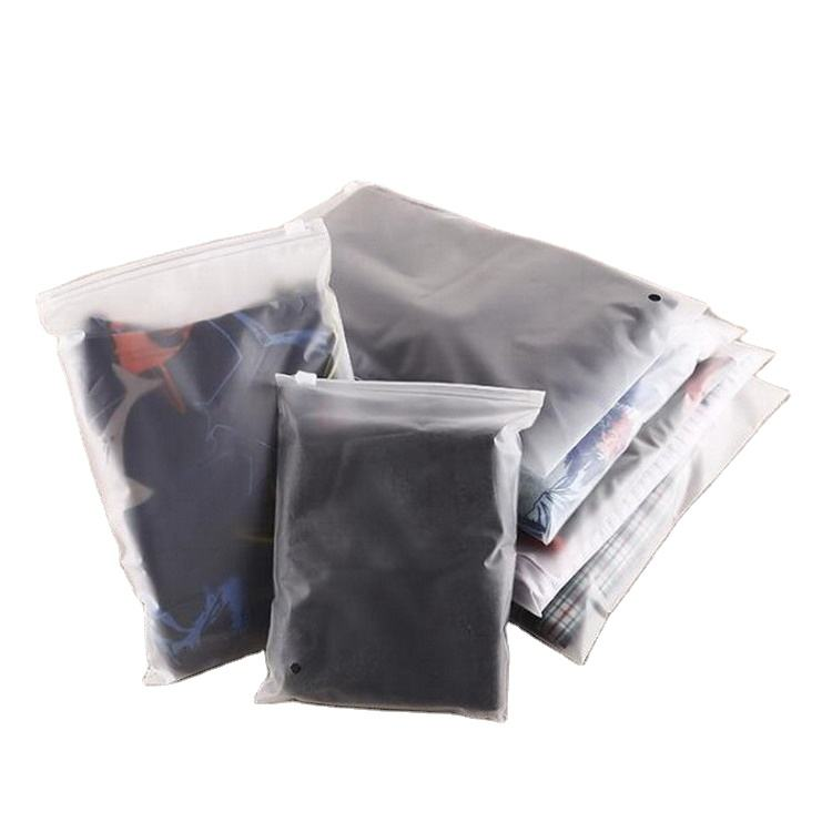 Wholesale Frosted PE Slider Zipper Poly Bag Plastic t-shirt Zip Lock Custom Clothing Packaging Bag