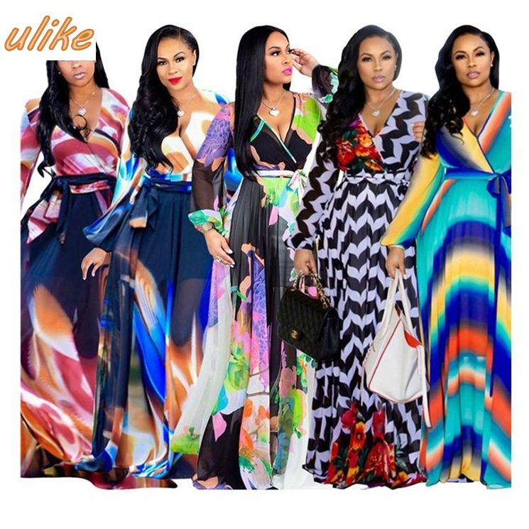 new design multicolor long sleeve v neck digital print chiffon long maxi women dress