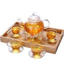 gift packing 6 cups pyrex glass teapot sets with warmer