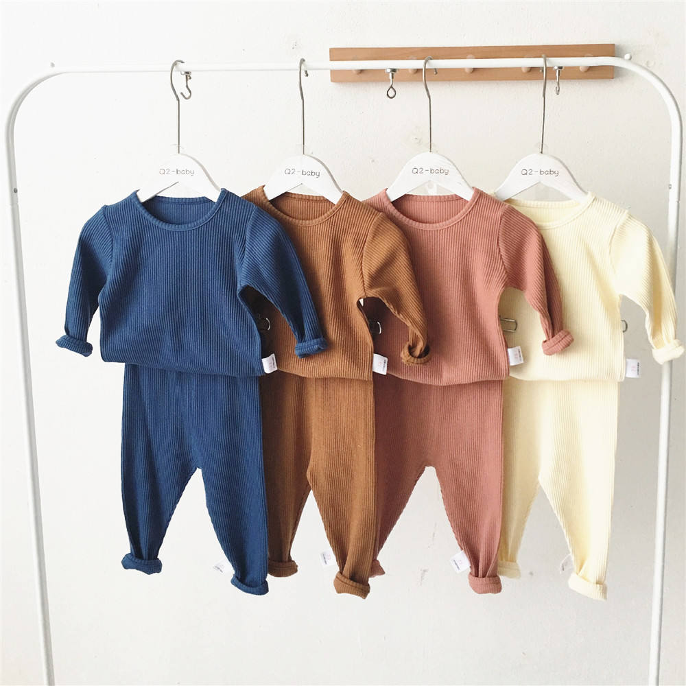 Hot sale newborn baby clothes solid colour ribbed baby 2pcs pajamas Rib Cotton Clothing set