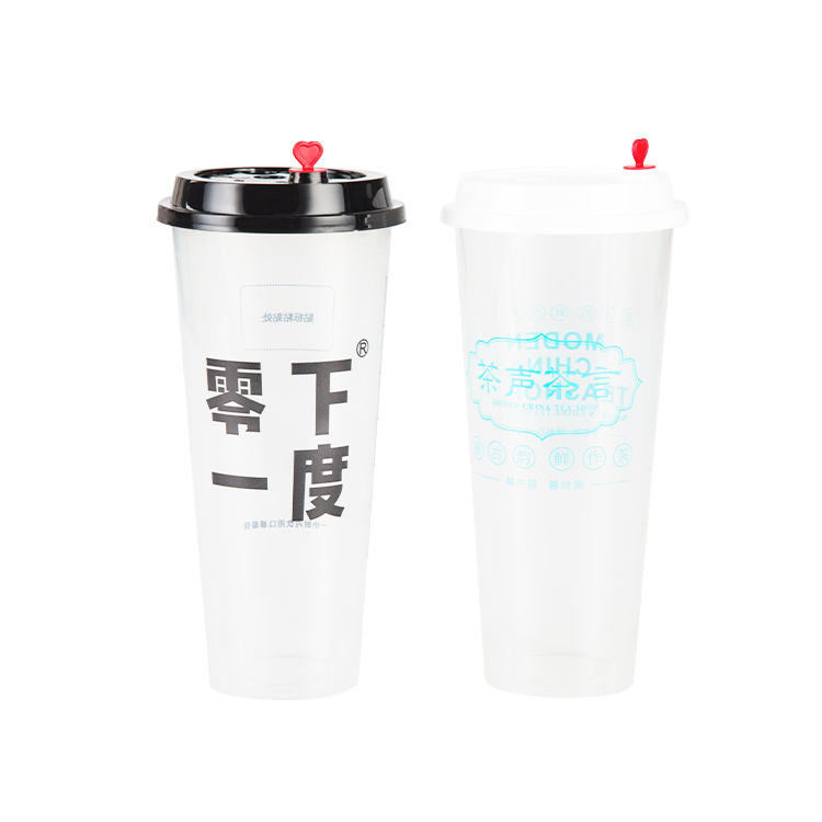 Custom Printed Clear Disposable Plastic Boba Bubble Tea Pp Injection Cup