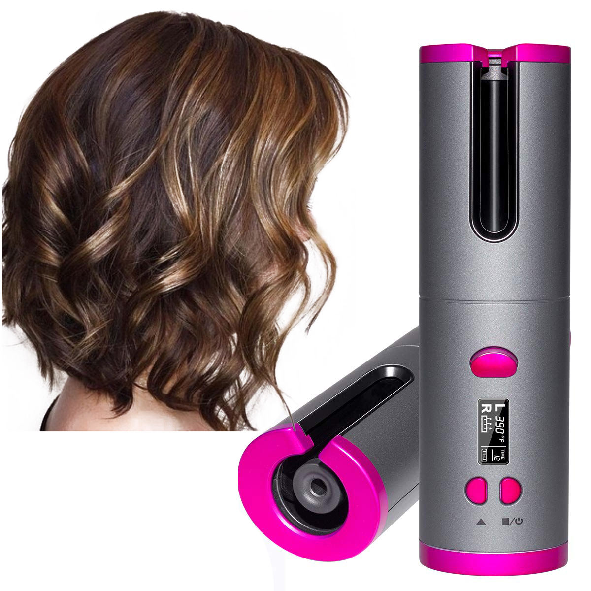 Ready stock Professional 2 direction Automatic hair Hair Curler LCD Digital Display Rechargeable anti-scald wireless hair curler