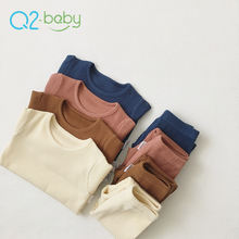 Q2-baby Winter Toddlers Clothes Cotton O-Neck Solid Baby Unisex Boy Girl Clothing Sets