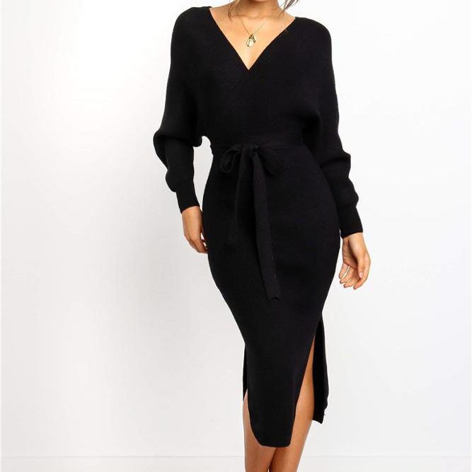 Trendy Autumn Knitted Long Sleeve Sexy Bandage Bodycon Dress Women