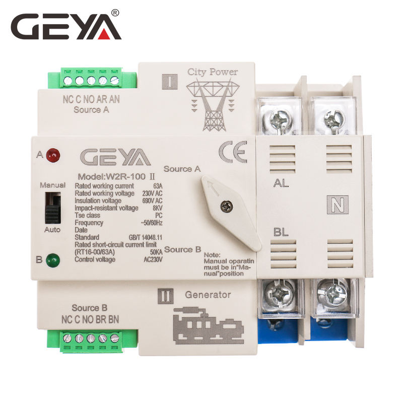 GEYA 2021 NEW Mini ATS Automatic Transfer Switch Electrical Selector Switches Dual Power Switch
