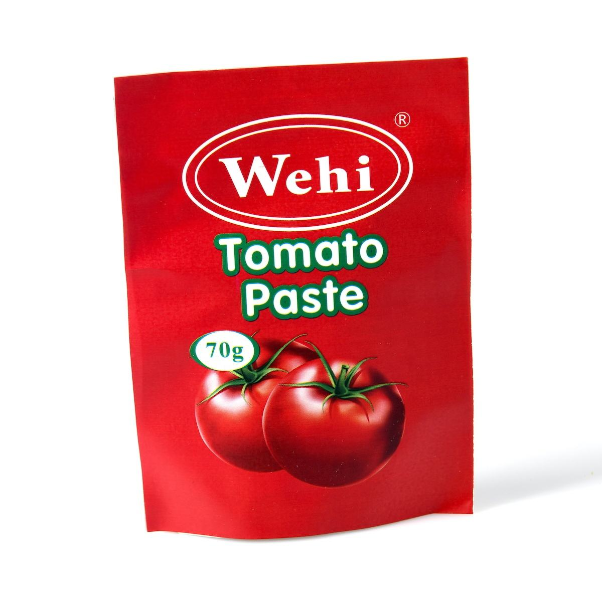 Halal Certified Caned Packaging 70 Gram Bag Packaging Organic Tomato Paste For Dubai