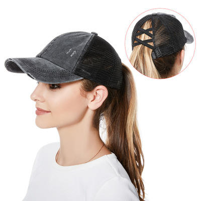 Q1382 Ponytail Cap Cross Messy Buns Pony Caps Baseball Dad Trucker Mesh Hat Sports Caps