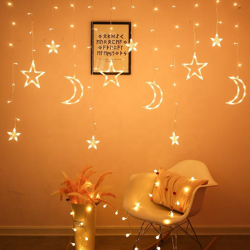 Kanlong indoors and outdoor safety Christmas tree Wedding decoration window led curtain twinkle moon star light for party