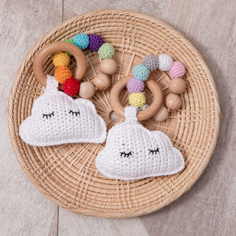 0-12 Months Newborn Baby Toy Crochet Rinbow Clouds Rattles Beech Wooden Nursing Bracelet Baby Educational Stroller Crib Toy